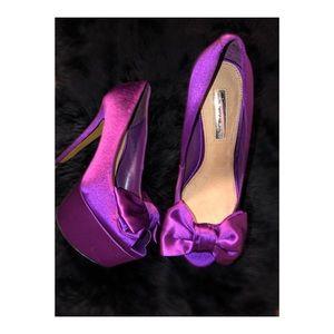 H by Halston Purple Silk Abigail Heel